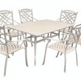 Set mobilier gradina/terasa KALINA KNYSNA aluminiu masa dreptunghiulara si 6 scaune culoare alba Raki - Mobila terasa gradina