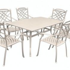 Set mobilier gradina/terasa KALINA KNYSNA aluminiu masa dreptunghiulara si 6 scaune culoare alba Raki - Set gradina
