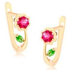 Cercei aur 585 - floare strălucitoare roz închis, frunză verde
