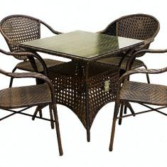 Set ROMANCE mobila terasa, gradina din ratan 5 piese masa patrata 75x75cm si 4 scaune cu brate Raki - Set gradina