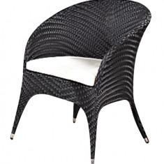 Fotoliu COMO BLACK pentru bar din ratan cu perna scaun Raki - Fotoliu living