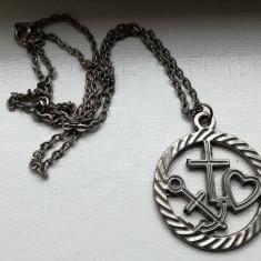 Pandantiv lant cu medalion cruce inimioara ancora - Pandantiv fashion