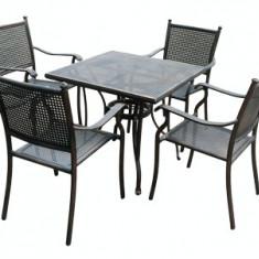 Set mobila gradina/terasa KALINA MOSSEL aluminiu masa patrata si 4 scaune culoare bronz Raki - Set gradina
