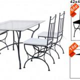 Set mobila terasa, gradina din fier forjat Masa 150x90x73cm cu 6 scaune Raki