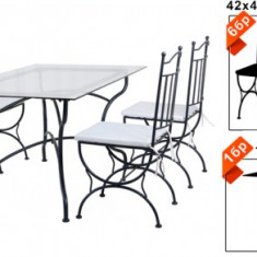 Set mobila terasa, gradina din fier forjat Masa 150x90x73cm cu 6 scaune Raki - Set gradina