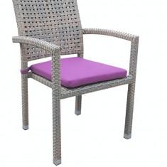 Scaun gradina, terasa KALINA ROKHA cu brate din ratan si perna scaun mov Raki