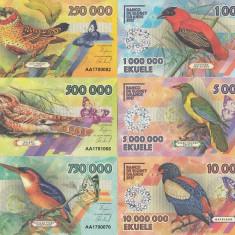 NOU : FANTASY NOTES : ELOBEY GRANDE - PASARI, LOT COMPLET (6 BUC.) 2017 - UNC - bancnota africa