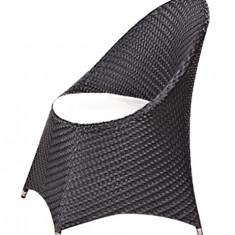 Fotoliu COMO BLACK pentru bar, terasa din ratan cu perna scaun Raki - Mobila Rattan