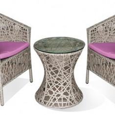 Set KNAKI mobilier terasa, bar masa rotunda cu 2 fotolii din ratan Raki