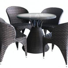 Set SALERNO mobila terasa, gradina din ratan 5 piese masa rotunda si 4 scaune culoare cafea Raki - Set gradina