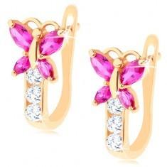Cercei realizaţi din aur de 14K - fluture din zirconiu de culoare roz - Cercei aur
