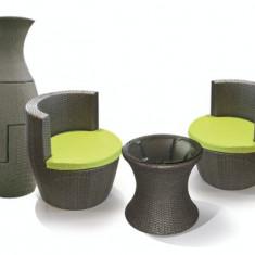 Set mobilier terasa, bar CASABLANCA masa rotunda cu 2 fotolii din ratan Raki