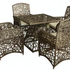 Set mobilier gradina, terasa RIMINI din ratan 5 piese masa patrata si 4 scaune cu brate Raki - Set gradina