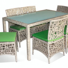 Set KALINA CORUMBA mobila terasa, gradina din ratan 7 piese masa dreptunghiulara si 6 scaune Raki - Set gradina