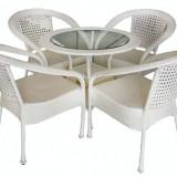 Set mobilier gradina,terasa SIENA din ratan 5 piese masa rotunda si 4 scaune cu brate Raki