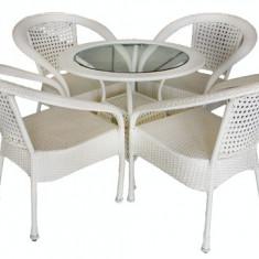 Set mobilier gradina, terasa SIENA din ratan 5 piese masa rotunda si 4 scaune cu brate Raki - Set gradina