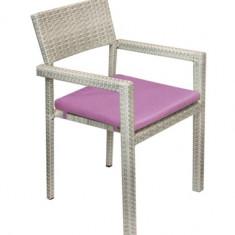Scaun KALINA NORTE cu brate din ratan PVC si cadru aluminiu cu perna scaun mov Raki