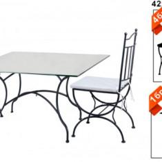 Set mobilier terasa, gradina din fier forjat Masa patrata 90x90x73cm cu 4 scaune Raki - Mobila terasa gradina