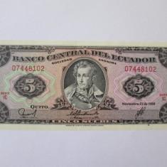 Ecuador 5 Sucres 1988 UNC - bancnota america