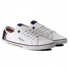 Adidasi - Tenisi Pepe Jeans London Aberman Print Originali, Masurile 41, 42, 43 - Tenisi barbati, Culoare: Alb, Textil