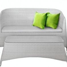 Set mobilier terasa,gradina KALINA RONDONIA din ratan 4 piese masa, canapea si 2 fotolii culoare alba Raki