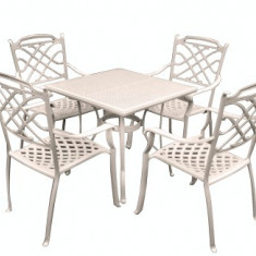 Set mobiler gradina/terasa KALINA KNUSNA aluminiu masa si 4 scaune culoare alba Raki