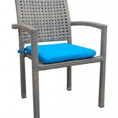 Scaun gradina, terasa KALINA ROKHA cu brate din ratan si perna scaun albastra Raki