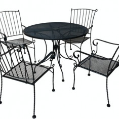 Set mobila terasa, gradina din fier forjat KING-AMERIKA Masa rotunda 100cm cu 4 scaune Raki - Set gradina