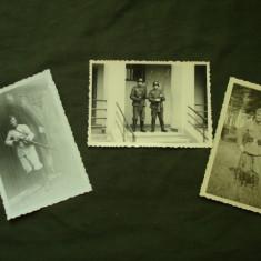 Lot Foto militara germane (3 buc) soldati WH 3 Reich WW 2/casca/pusca/colectie
