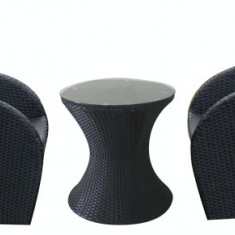 Set mobilier terasa, bar BRASIL masa rotunda cu 2 fotolii din ratan Raki - Set gradina