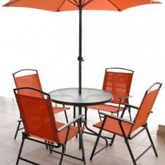 Set mobila de gradina, terasa TBAG masa rotunda 80cm cu 4 scaune orange MN0109390 umbrela Raki - Set gradina