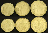 SERBIA █ SET COMPLET DE MONEDE █ 1, 2, 5 Dinara █ 2014 █ UNC