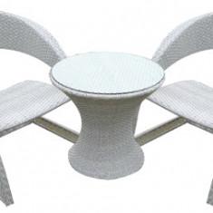 Set mobilier gradina,terasa CORSICA masa rotunda cu 2 fotolii din ratan Raki