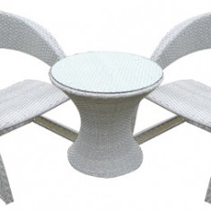 Set mobilier gradina, terasa CORSICA masa rotunda cu 2 fotolii din ratan Raki - Set gradina