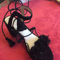 Sandale Zara - Sandale dama Zara, Culoare: Negru, Marime: 38