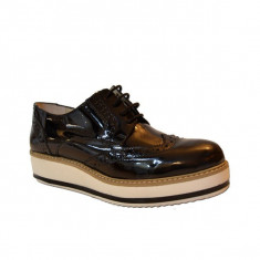Pantofi casual dama, MPL 738, negru-lac din piele naturala