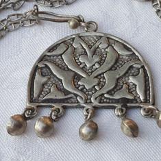 Medalion argint etnic TRIBAL afghan VECHI superb VINTAGE de EFECT pe Lant argint