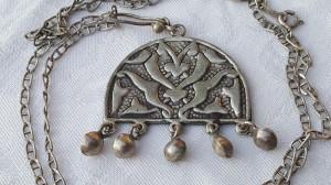 MEDALION argint AFGHAN TURKMEN etnic TRIBAL vintage VECHI superb pe Lant argint