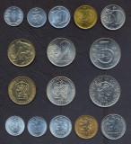 CEHOSLOVACIA SET COMPLET DE MONEDE 1+5+10+20+50 Haleru +1+2+5 Korun 1962-90 UNC