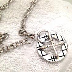 Lantisor+pandantiv cruciulita -inox placat cu aur alb 18k si SWAROVSKI