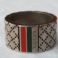 GUCCI Inel argint VINTAGEde efect ITALIA email SPLENDID in linie cu moda LUXURY