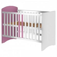 Patut din Lemn Anne Alb Roz - Patut lemn pentru bebelusi