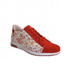 Pantofi dama, MPL 720, rosu flowers din piele naturala