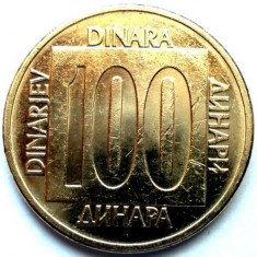IUGOSLAVIA, 100 DINARI 1989, DESIGN UNIC, 24, 1 mm., Europa, Bronz