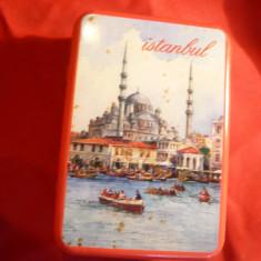 Cutie veche pt. tutun Istambul, metal si email, 9, 6x6, 5 cm