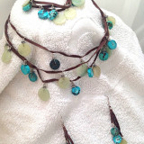 Set bijuterii (colier+ cercei+ bratara)- placat cu argint vintage si snur PIELE