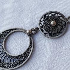 Medalion argint TRIBAL vintage SUPERB executat manual de Efect pe Lant argint