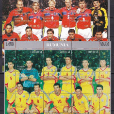 Turkmenistan 2000 sport fotbal 6 kleib. 3 poze echipa Romaniei MNH w45 - Timbre straine, Nestampilat