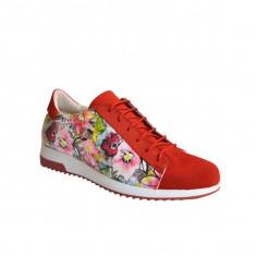 Pantofi dama, MPL 721, rosu flowers TOP din piele naturala - Tenisi dama