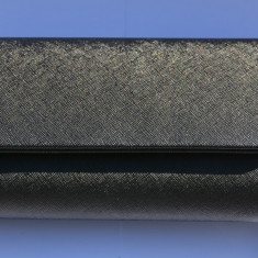 Poseta de gala din piele ecologica neagra cu design de striatii